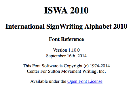 ISWA 2010 Font Reference