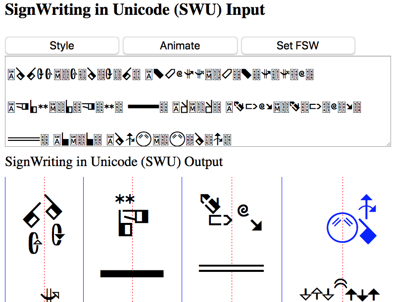 SignWriting in Unicode (SWU) Viewer